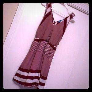 Red + White Striped Sleeveless Dress